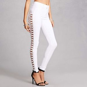 ultrachicfashion.com Pants - White Lace Up Skinny Pants